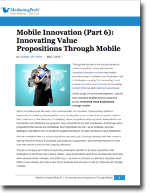 Mobile Innovation Strategy #5: Innovating Value Propositions