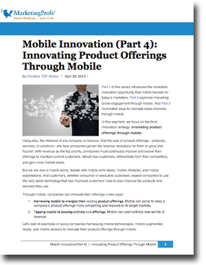 Mobile Innovation Strategy #3: Innovating Product Offerings