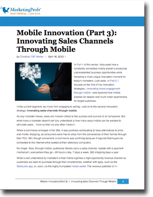 Mobile Innovation Strategy #2: Innovating Sales Channels