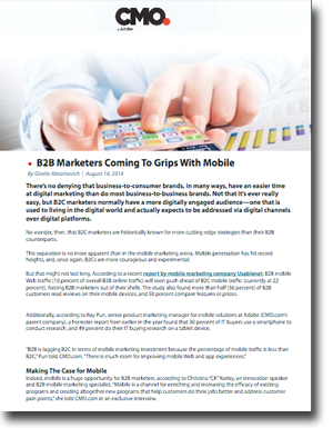 B2B Marketers Coming To Grips With Mobile